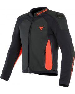 Dainese Intrepida Perforated Leather Jacket Black/Black Matt/Fluo Red 94C