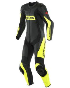 Dainese VR46 Tavullia Leather 1Pc Suit Perforated Black/Fluo Yellow 620
