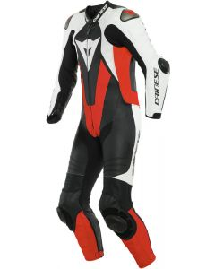 Dainese Laguna Seca 5 1Pc Leather Suit Perforated Black/White/Fluo Red N32