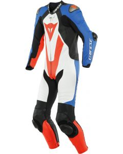 Dainese Laguna Seca 5 1Pc Leather Suit Perforated White/Light Blue/Black/Fluo Red 88E