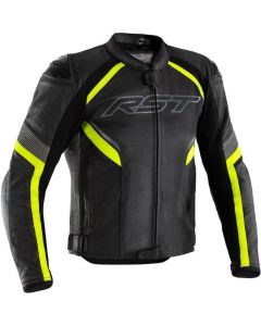 RST Sabre Leather Airbag Jacket Black/Fluo Yellow