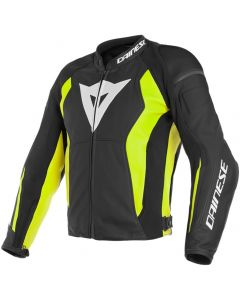 Dainese Nexus Leather Jacket Black/Black/Fluo Yellow N49