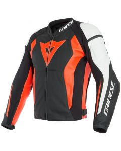 Dainese Nexus Leather Jacket Black/Fluo Red/White W12