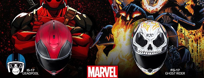Ghost Rider en Deadpool helm